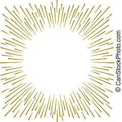 Gold firework design on white background with copy space