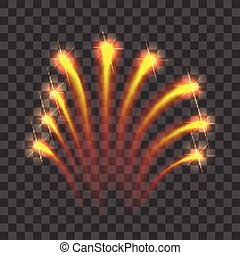 Gold firework rockets icon, realistic style