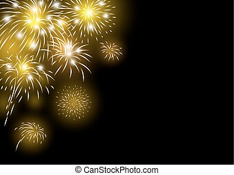 Gold fireworks design on black background vector illustration
