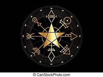 Gold First Pentacle of Venus, seals magical talisman. Sacred geometry. Golden Vegvisir compass mystical Characters of Venus amulet, logo, prints. Stock vector illustration isolated black background