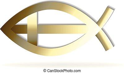 Gold fish and cross symbol logo