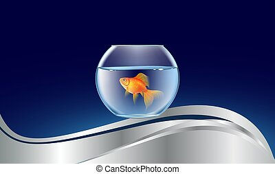 gold fish bowl on abstract wave background