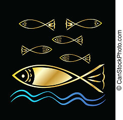 Fish group and waves background