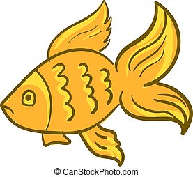 Gold fish, illustration, vector on white background.