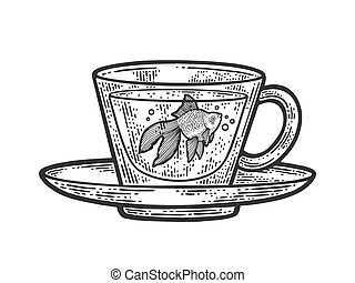 Gold fish in cup sketch engraving vector illustration. T-shirt apparel print design. Scratch board imitation. Black and white hand drawn image.