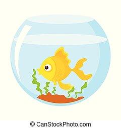 Gold fish in the aquarium Vector illustration