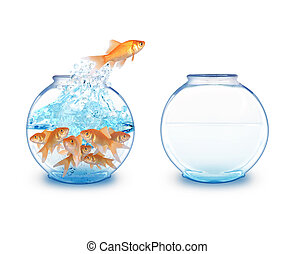 A gold fish is jumping over to an empty fishbowl for more room to expand. There is a white background.