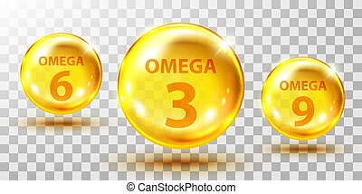 Gold fish oil pills isolated on transparent. Omega 3, 6 and ...