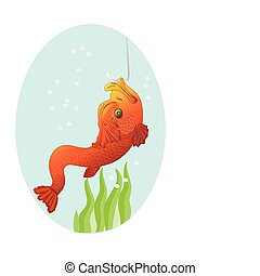 Gold fish on a hook, a vector illustration