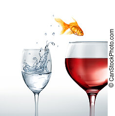 Gold fish smiling jumping from a glass of water, to a glass...