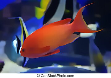 Gold Fish Swimming In Aquarium Watercolor