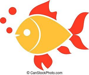Gold fish vector icon