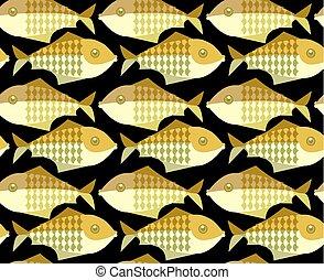 gold fish vector illustration. seamless pattern on black background