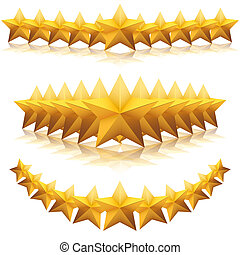 Gold five-pointed premium stars. vector