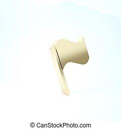 Gold Flag icon isolated on white background. 3d illustration 3D render