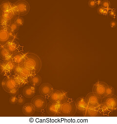 Gold flares and stars on a brown background