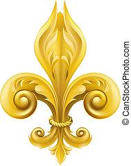Illustration of a gold fleur-de-lis graphic design element