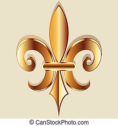 Gold Fleur De Lis Symbol Logo