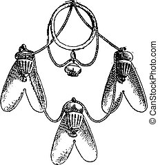 Gold flies hanging from an Egyptian necklace, vintage engraving.