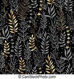 Gold floral background. Vector seamless pattern with branches leaf berries. Perfect for holidays