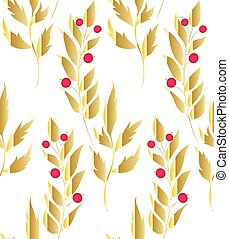 Gold floral branches and berries background. Vector glitter textured seamless pattern with branches leaf berries. Perfect for holidays