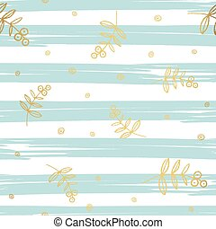Gold floral elements on stripe background. Vector pattern