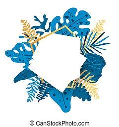 Gold floral frame blue tropical leaf banner vector