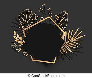 Gold floral frame tropical leaves banner vector