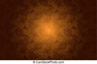 Gold floral lace seamless background - Gold and bronze...