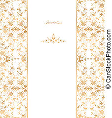 Gold floral on white background. Vector