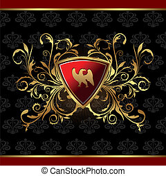 gold floral packing with heraldic elements