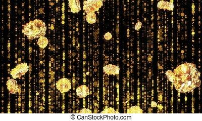 Gold flowers falling down loop background. 3d Render