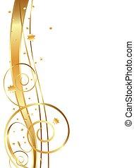 Gold Flowing Background, swirls, twirls and stars