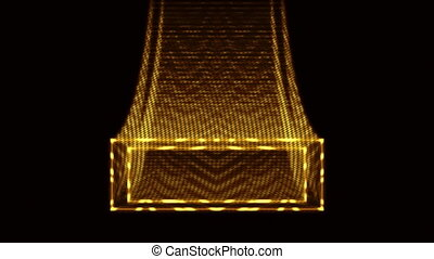 Animation of a golden marquee or title plate as it comes flying in to the center of the screen in luxurious old school motion graphics style. The clip contains a looping section starting at frame 166.