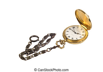 Gold fob watch isolated