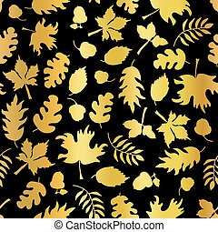 Gold foil autumn leaf silhouettes seamless vector background. Golden shiny abstract fall leaves shapes on black background. Elegant pattern for digital paper, Thanksgiving card, party invitation