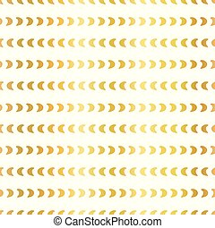Gold foil half moon shapes seamless vector pattern. Golden crescents in horizontal lines on white background. Elegant design for digital paper, web banner, wedding, party invite, birthday celebration