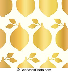 Gold foil lemon seamless vector pattern. Golden shiny lemons in rows on white background. Elegant, luxurious food print for paper, packaging, web banners, home decor, reataurant menues, kitchen decor