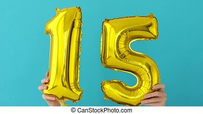 Gold foil number 15 celebration balloon - Gold foil number ...