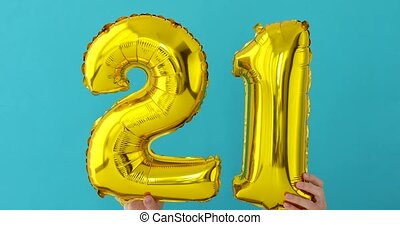 Gold foil number 21 celebration balloon - Gold foil number ...