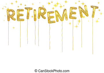 Gold foil retirement party style balloons. White background....