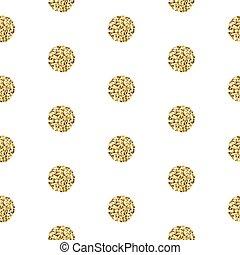 Gold foil shimmer glitter polkadot seamless pattern. - Gold...