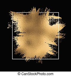 gold foil splatter with white frame on a black background 1710
