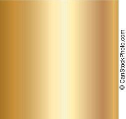 Gold foil texture background. Realistic golden vector metal gradient template for gold border, frame, ribbon design.