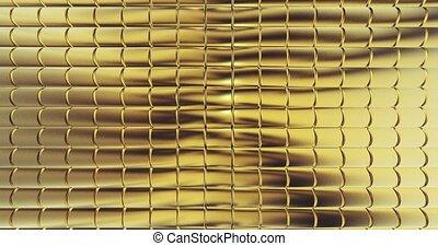 gold foil tiles texture background 3D rendering - Golden...