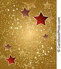 gold foil with stars - background of gold foil with red and...