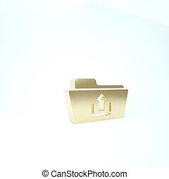 Gold Folder upload icon isolated on white background. 3d illustration 3D render