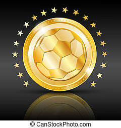 Gold football coin. Sport background. EPS 10 vector...