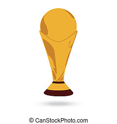 gold football cup trophy isolated on white background