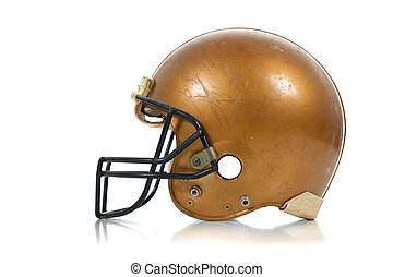 Gold football helmet on a white background
